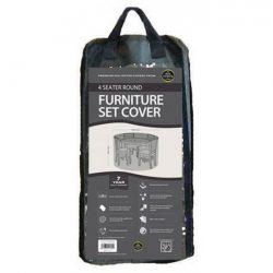 4 Seater Round Furniture Set Cover Black